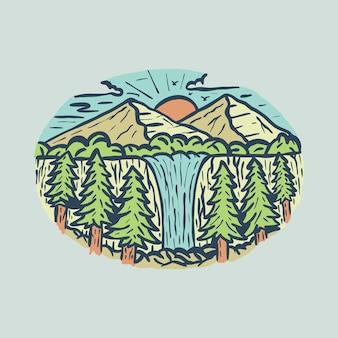 Красота с водопадом красочная рисованная графическая иллюстрация арт дизайн футболки