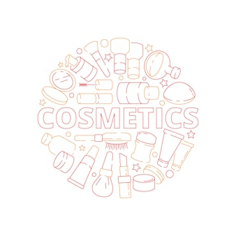 Beauty woman cosmetic items in circle shape eyeshadow lipstick cream nail polish vector design concept