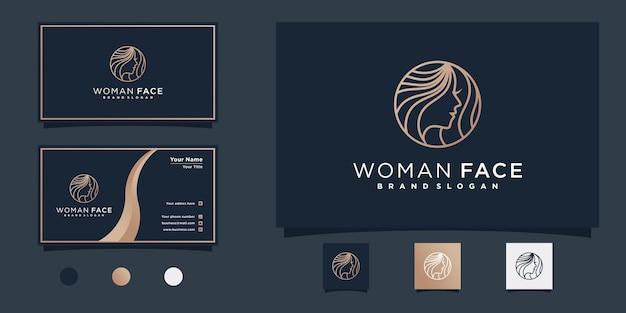 Дизайн логотипа beauty woman face в стиле циркулярной линии для салона красоты premium vekto