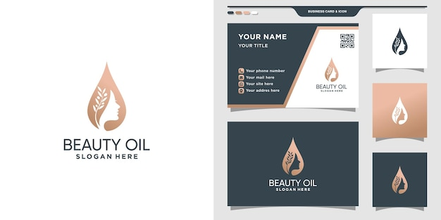 Beauty woman face logo and water drop with business card design