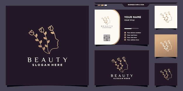 Beauty woman face logo with flower in line art style and unique concept. icon beauty logo and business card design premium vector