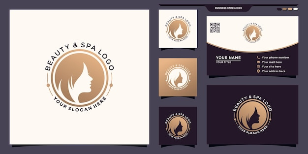Beauty woman face logo with negative space circle concept and business card design premium vector