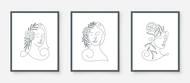 Beauty woman faces in line art floral frame