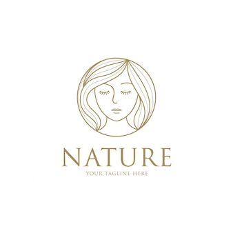 Красота женщина мода логотип с шаблоном дизайна линии искусства