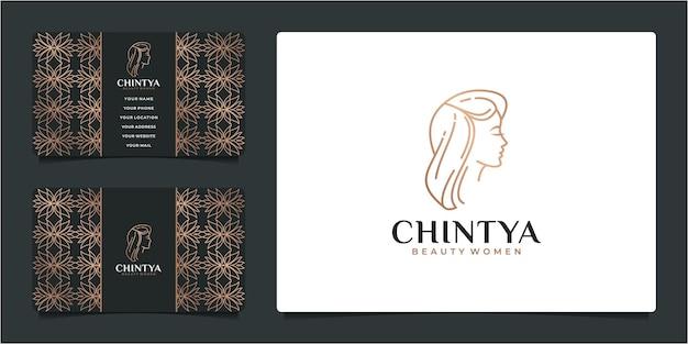 뷰티 우먼 헤어 살롱 골드 그라데이션 로고 디자인 및 명함