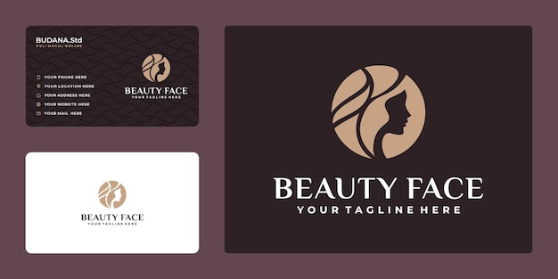 Beauty woman hair salon gold logo design and business card