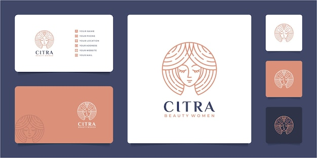 Beauty woman hair salon gradient logo design and business card