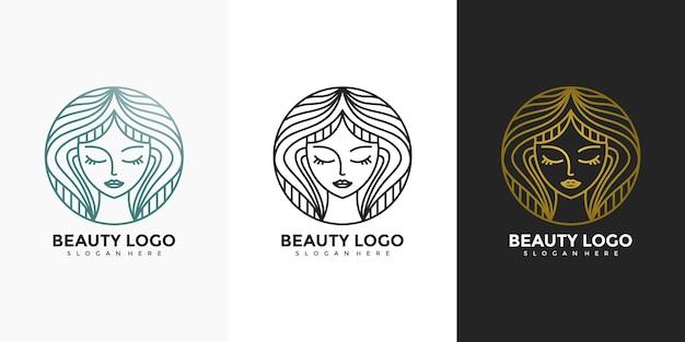 美容女性ヘアサロンラインアートスタイルのロゴデザイン