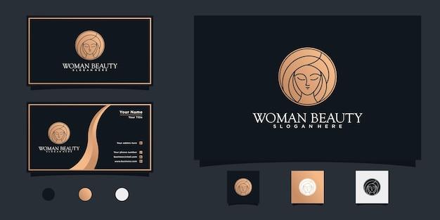 라인 아트 컨셉과 명함 디자인이 포함된 뷰티 우먼 헤어 살롱 로고 디자인