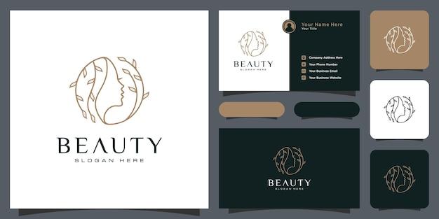 自然の人々のサロン要素の名刺と美容女性の髪型のロゴデザイン