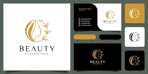 自然の人々のサロン要素の名刺と美容女性の髪型のロゴデザイン Premiumベクター