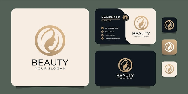 Beauty woman hairstyle logo design with business card for nature people salon elements