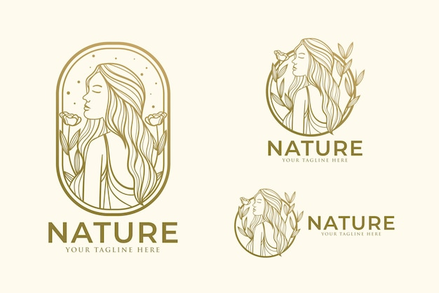 Beauty woman line art logo design