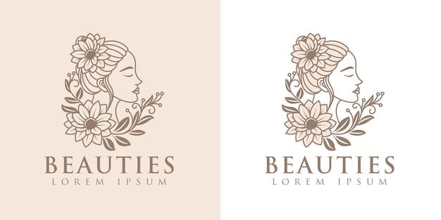 Beauty woman lineart logo template