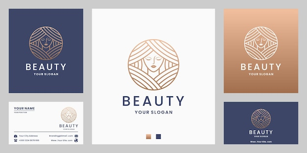 Beauty woman logo design for salon spa, product cosmetic with golden color monogram style