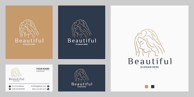 Beauty woman logo design for salon spa with golden color