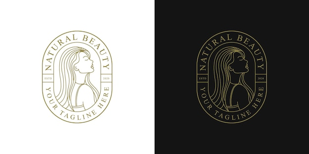 Beauty woman logo design with badge