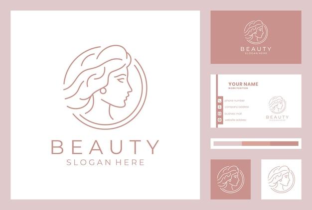名刺テンプレートと美容女性のロゴのデザイン。