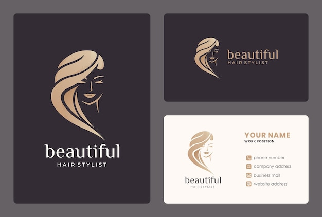 Beauty woman logo design with business card