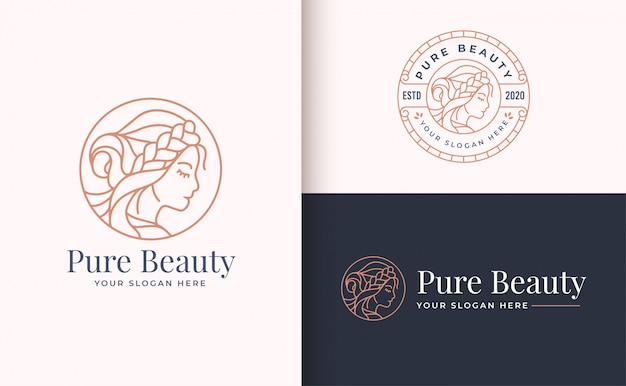 サークルバッジと美容女性ロゴデザイン