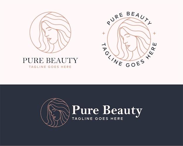 Дизайн логотипа красоты женщина с значок круга