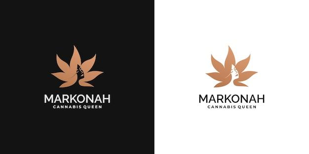 대마 잎 개념으로 뷰티 우먼 로고 디자인