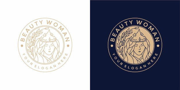 빈티지 스타일과 아름다움 여자 로고 디자인