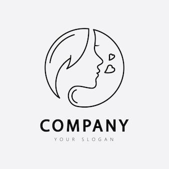 あなたのビジネスサロンのスキンケアとスパのための美容女性のロゴ