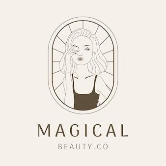 아름다움 여자 로고 라인 아트 사업 디자인