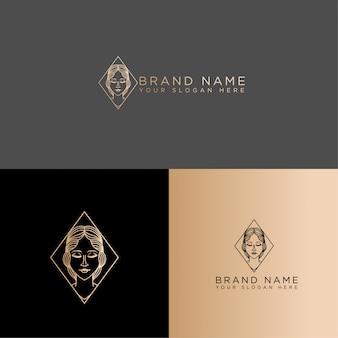 Редактируемый шаблон красоты женщина логотип линии искусства