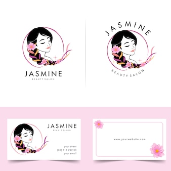 Beauty woman logo with business card designs