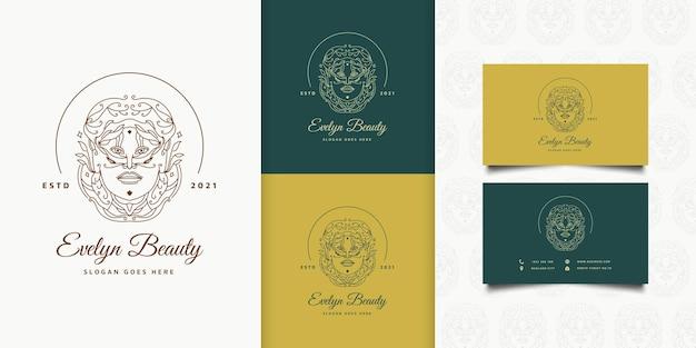 선형 개념의 우아한 헤어 스타일과 패션, 살롱, 화장품 또는 뷰티 스튜디오 로고에 대한 빈티지 스타일의 뷰티 우먼 로고
