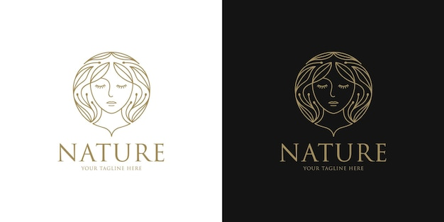 Beauty woman logo with floral in hair design template