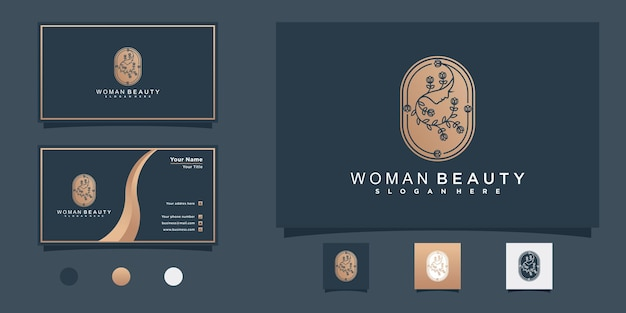 뷰티 살롱 premium vecto를 위한 꽃 라인 아트 컨셉과 명함이 있는 뷰티 우먼 로고