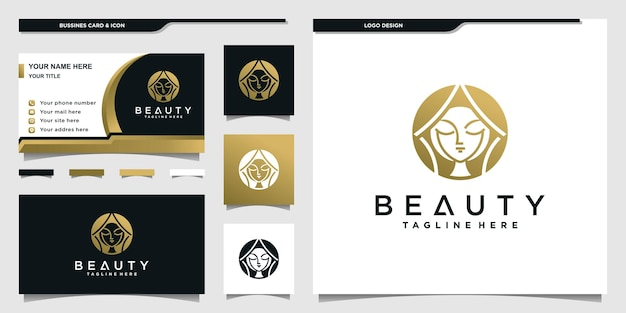 Beauty woman logo with gold gradient colors concept for beauty salon and businnes card design premium vektor