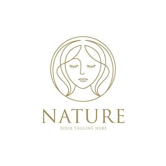 Beauty woman logo with line art design template