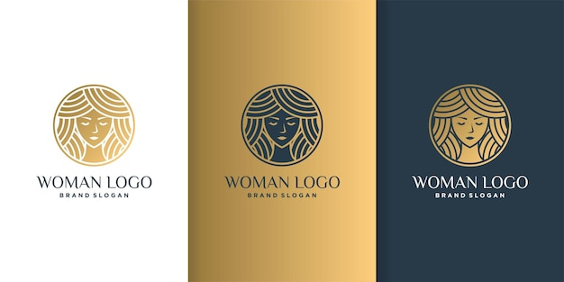 Beauty woman logo with modern color technique concept and business card  template