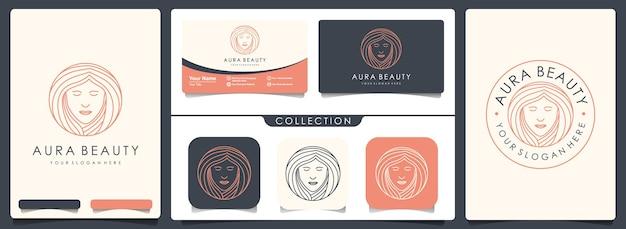 Красота женщина логотип с набором старинных и шаблон визитной карточки
