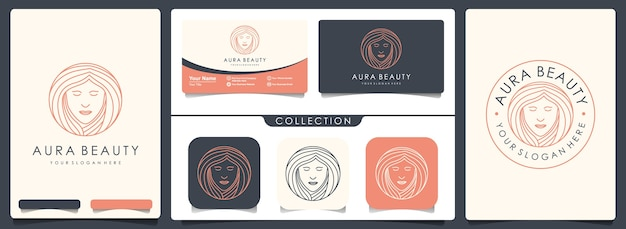 Beauty woman logo with set of vintage and business card template
