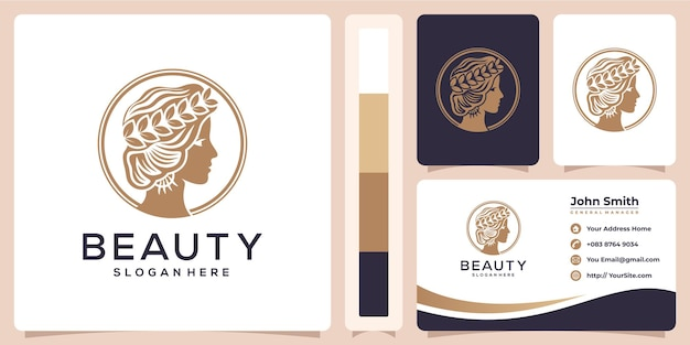 Beauty woman luxury logo and business card template