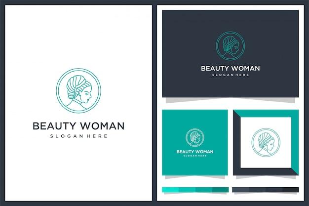 뷰티 우먼 미니멀리즘 로고 디자인