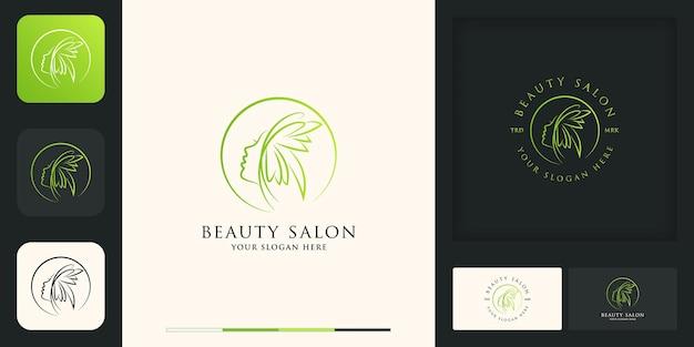 Красота женщины современный винтажный дизайн логотипа и визитная карточка