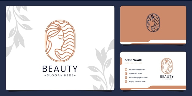 Beauty woman monoline luxury logo design for spa and salon with business card template