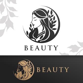 Красота женщина природа логотип шаблон