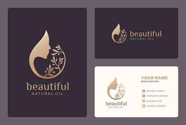 Beauty woman / olive oil logo design with business card template.