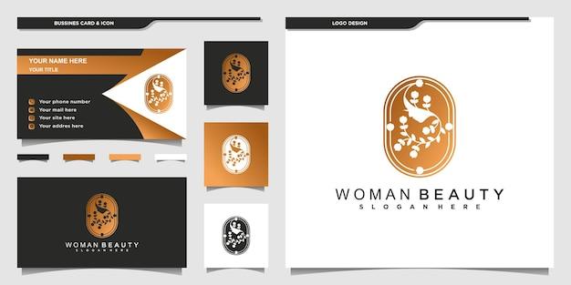 Красота женское лицо цветочный логотип с современным золотым градиентом цвета для салона красоты premium vekto