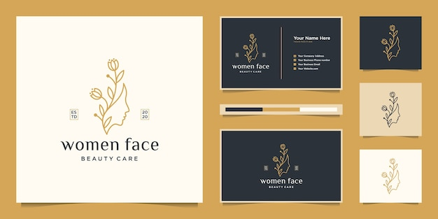 Beauty woman's face flower with line art style logo and business card . feminine design concept for beauty salon, massage, magazine, cosmetic and spa.