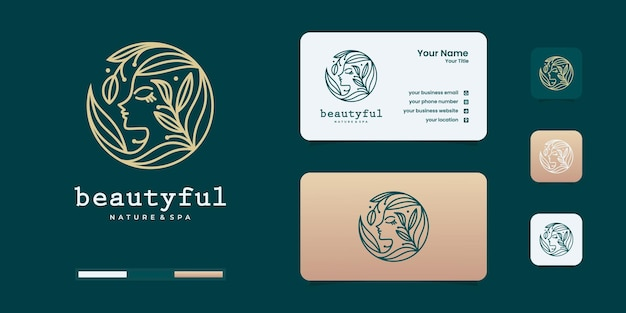 美容女性の顔のロゴのデザインテンプレート。美しさのグラデーションのコンセプトのロゴと女性のロゴ。
