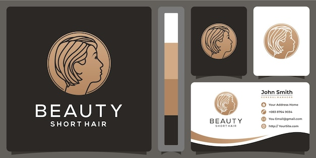 Beauty woman short hair logo and business card template