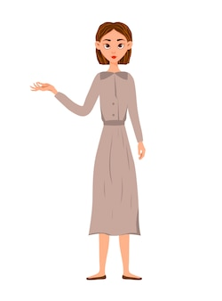 Beauty woman shows hand to side. cartoon style.
